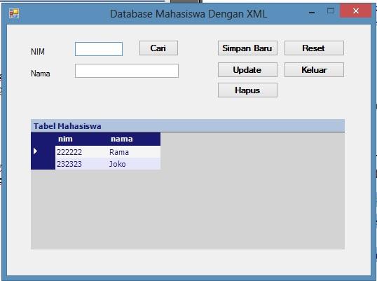 Membuat Database Mahasiswa Mengguakan Xml